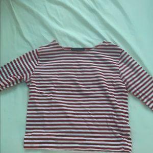 3/4 sleeve striped brandy shirt